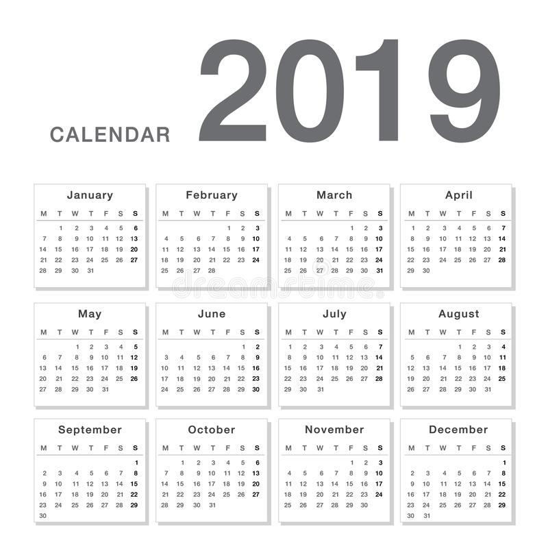 Calendar year 2019 vector design template, simple and clean design. royalty free illustration