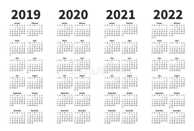 Calendar 2019, 2020, 2021 and 2022 year vector design template. Simple minimalizm style. Week starts from Sunday stock illustration