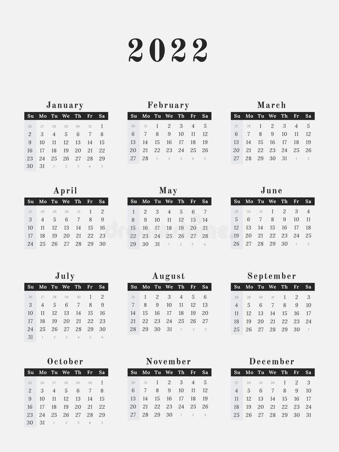 2022 Full Year Calendar.2022 Year Calendar Vertical Design Stock Vector Illustration Of Graphic Frame 121206740