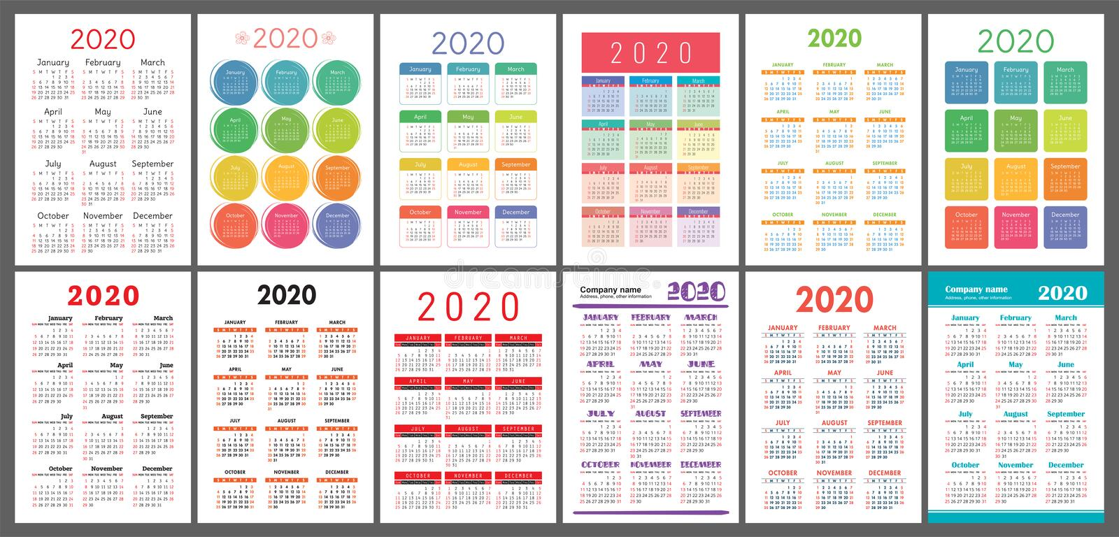 Calendar 2020 year. Vector template collection. Colorful English pocket calender set. Week starts on Sunday royalty free illustration