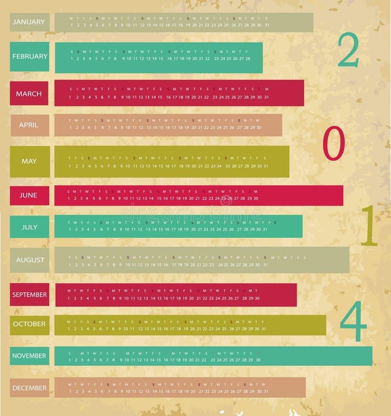 Calendar for 2014 year royalty free illustration