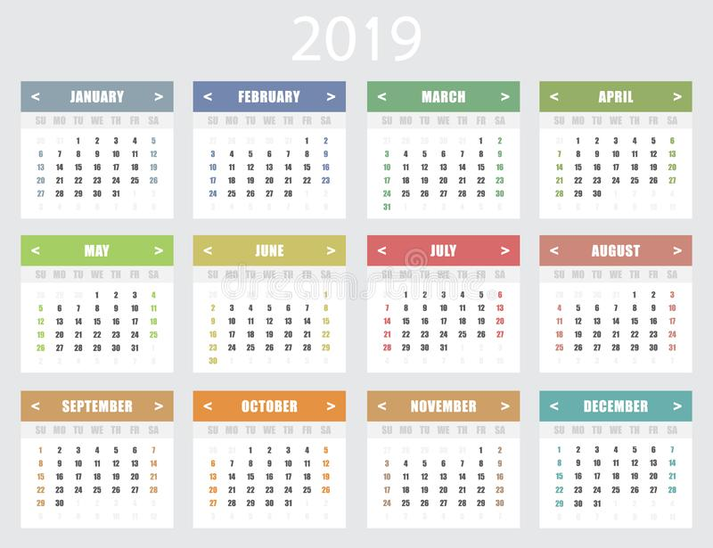 Calendar for 2019 year. Week starts on Sunday. royalty free stock photography