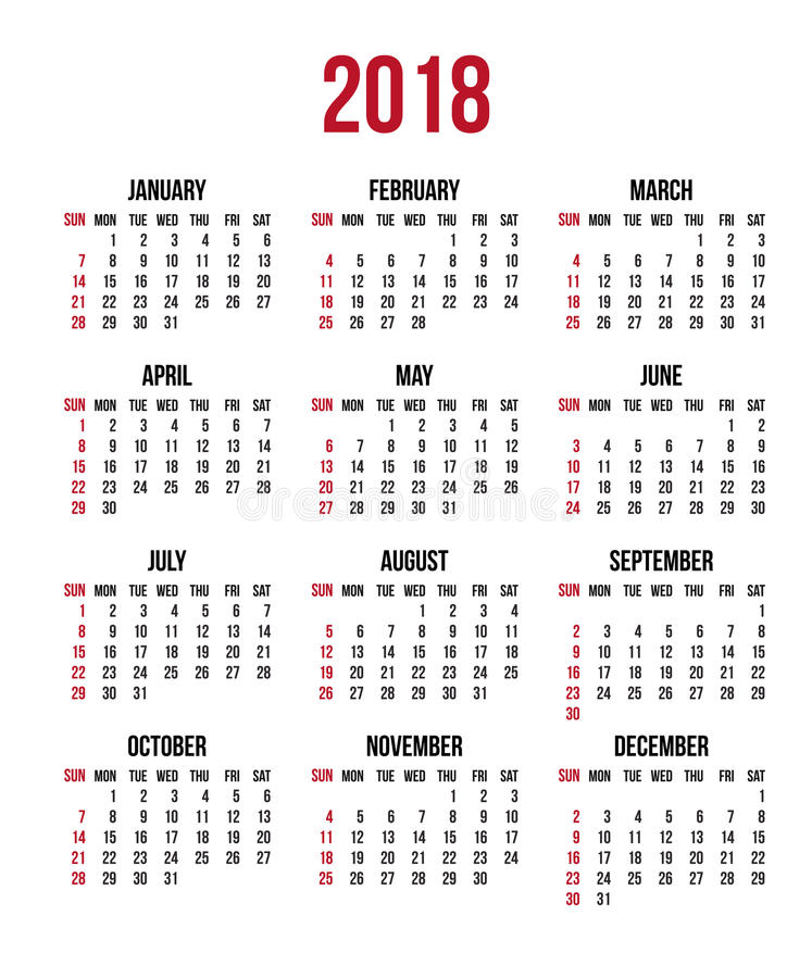 download calendar 2018 year week starts sunday us vector clear or blank calendar