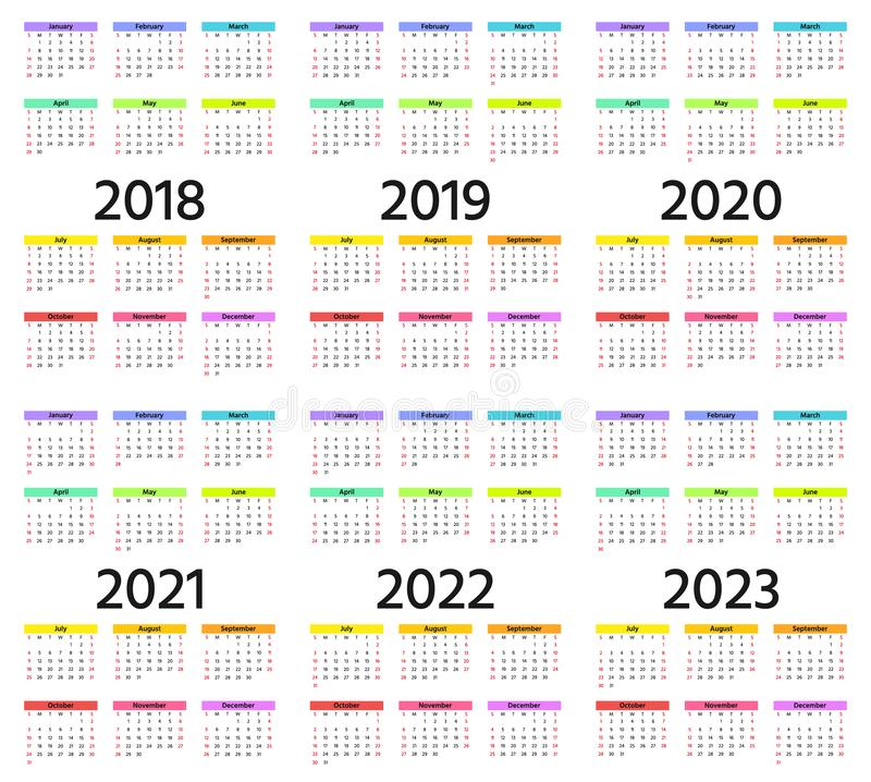 Calendar 2019, Calendar 2020, Calendar 2021 And 2022