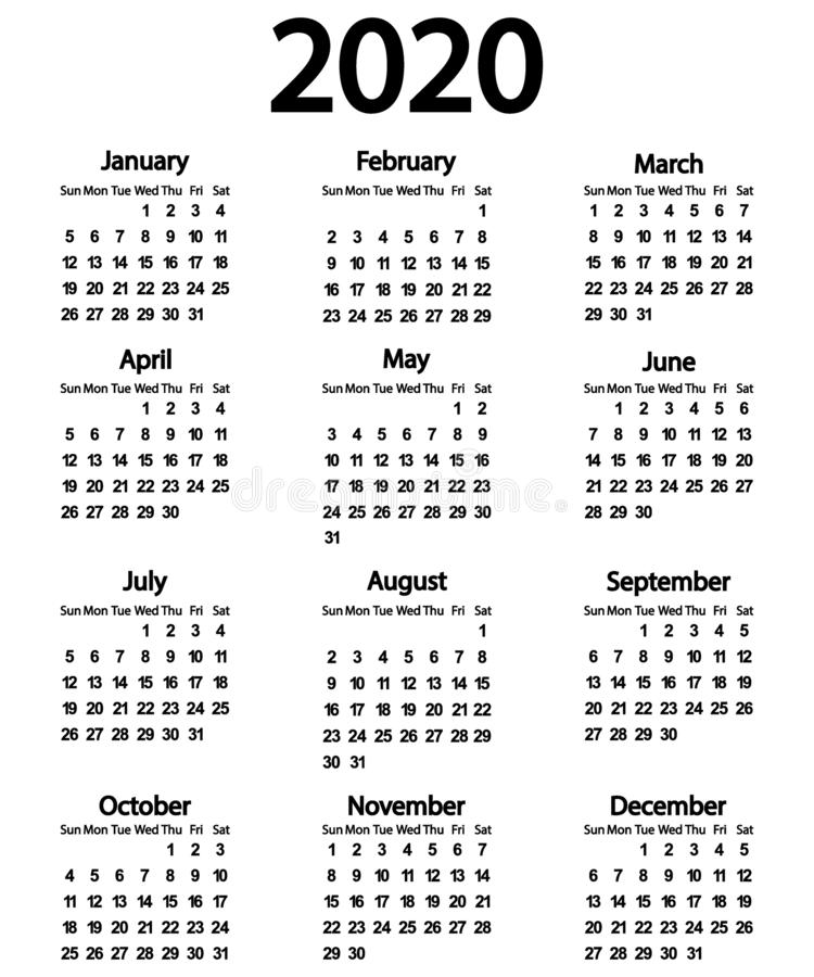 Calendar for the year 2020 on white. Background stock illustration