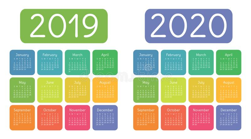 Calendar 2019, 2020 years. Colorful calender set. Week starts on royalty free stock image