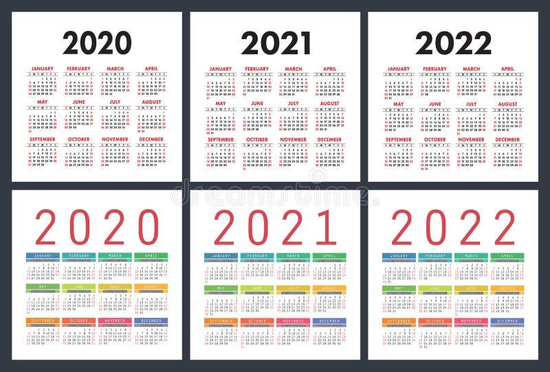 Calendar 2020, 2021, 2022 years. Colorful set. Pocket calender. Week starts on Sunday. Basic grid stock illustration
