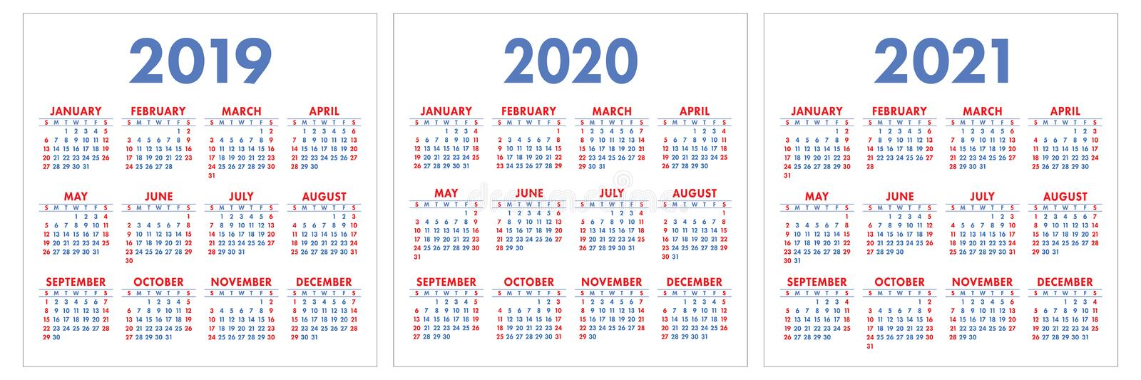 Calendar 2019, 2020, 2021 years. Colorful set. Week starts on Sunday. Basic grid royalty free stock photography