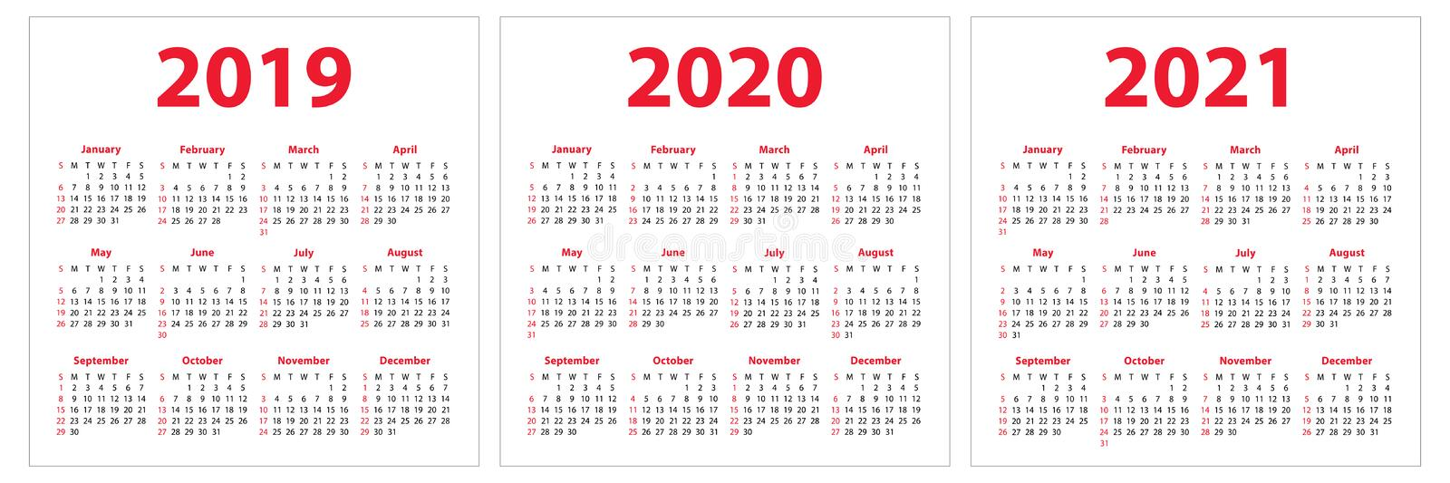 Calendar 2019, 2020, 2021 years. Colorful set. Week starts on Sunday. Basic grid vector illustration
