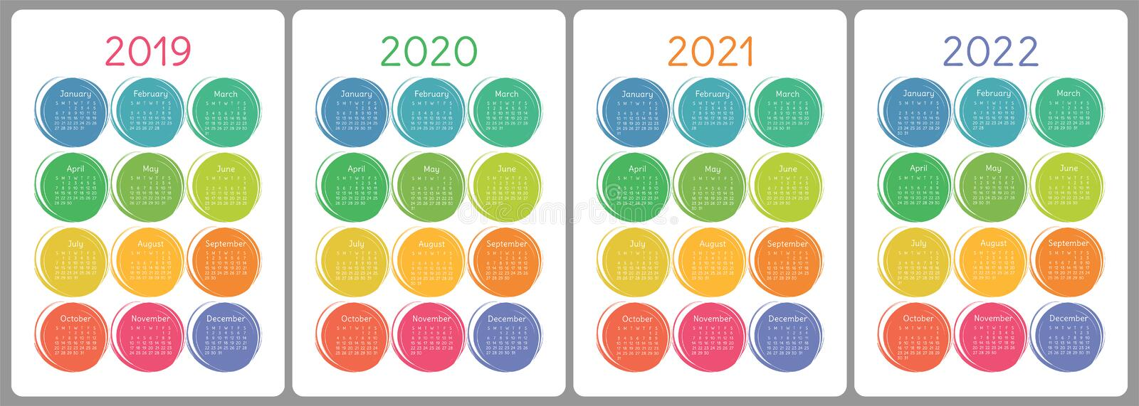 Calendar 2019, 2020, 2021, 2022 years. Colorful vector set. Week vector illustration