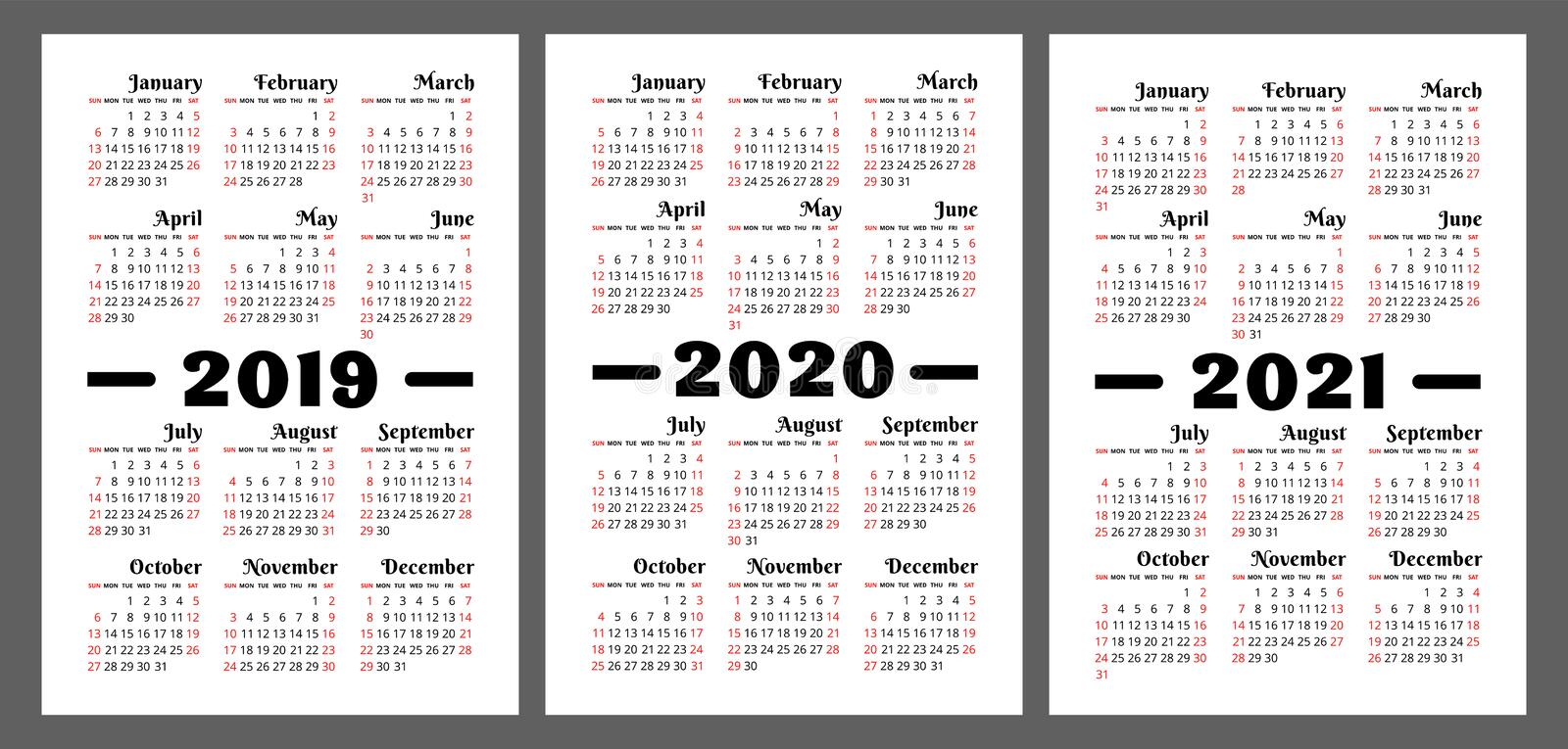 Calendar 2019, 2020, 2021 years. Colorful vector set. Week start stock illustration