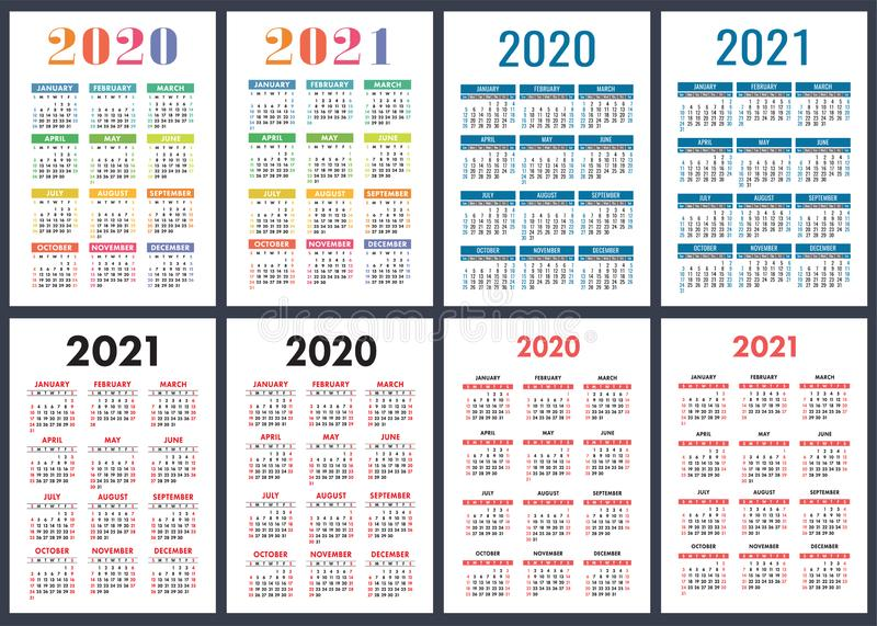 Calendar 2020, 2021 years. Colorful vector set. Week starts on Sunday. Vertical English calender design template stock illustration