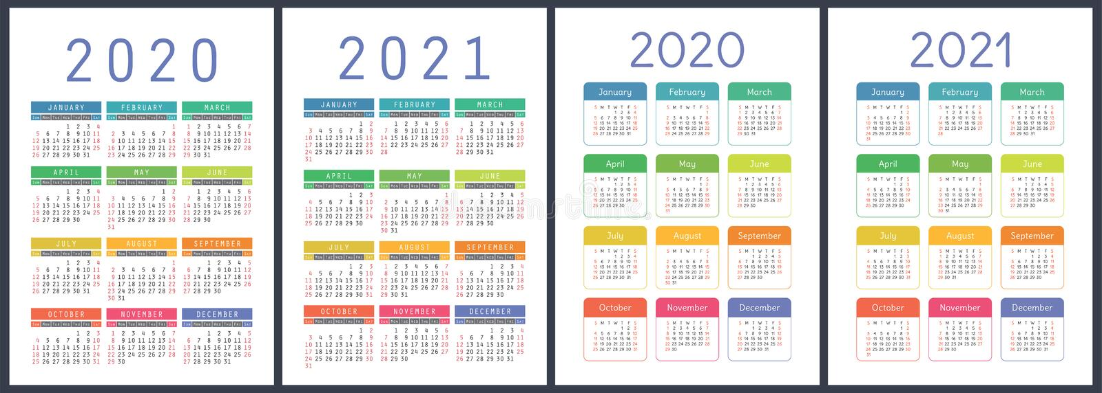 Calendar 2020, 2021 years. Colorful vector set. Week starts on Sunday. Vertical English calender design template.  royalty free illustration