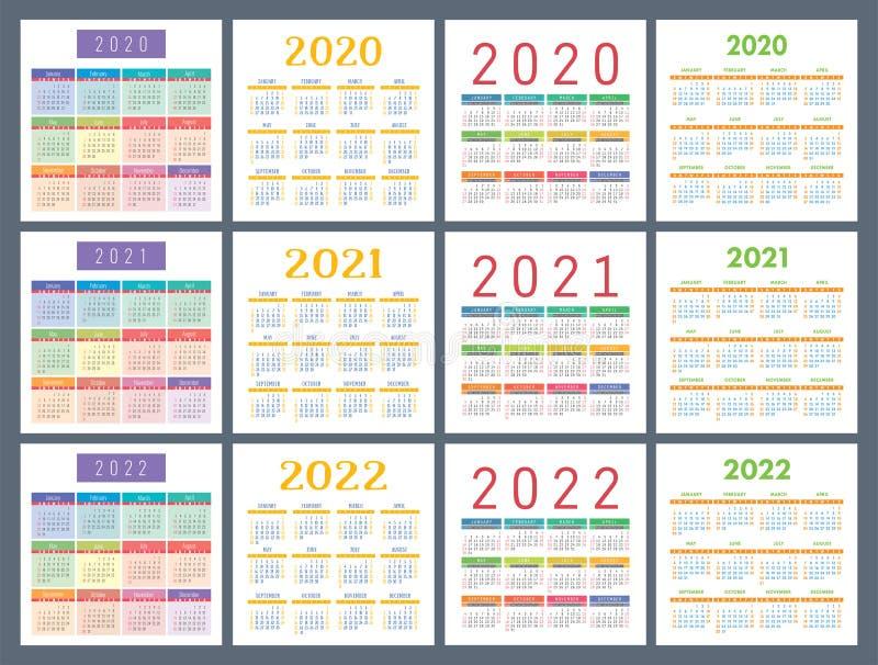 Calendar 2020, 2021, 2022 Years. Pocket Calender. Colorful ...
