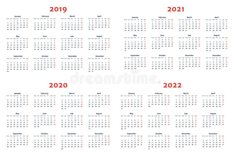 Calendar for 2019-2022 Years on Transparent Background stock illustration