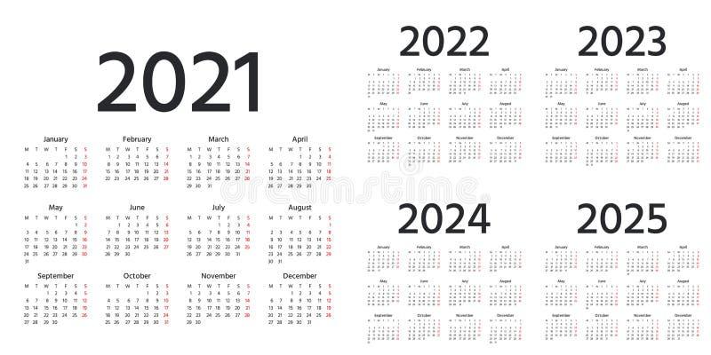 Calendrier Trial 2022 Calendar 2021, 2022, 2023, 2024, 2025 Years. Vector Illustration