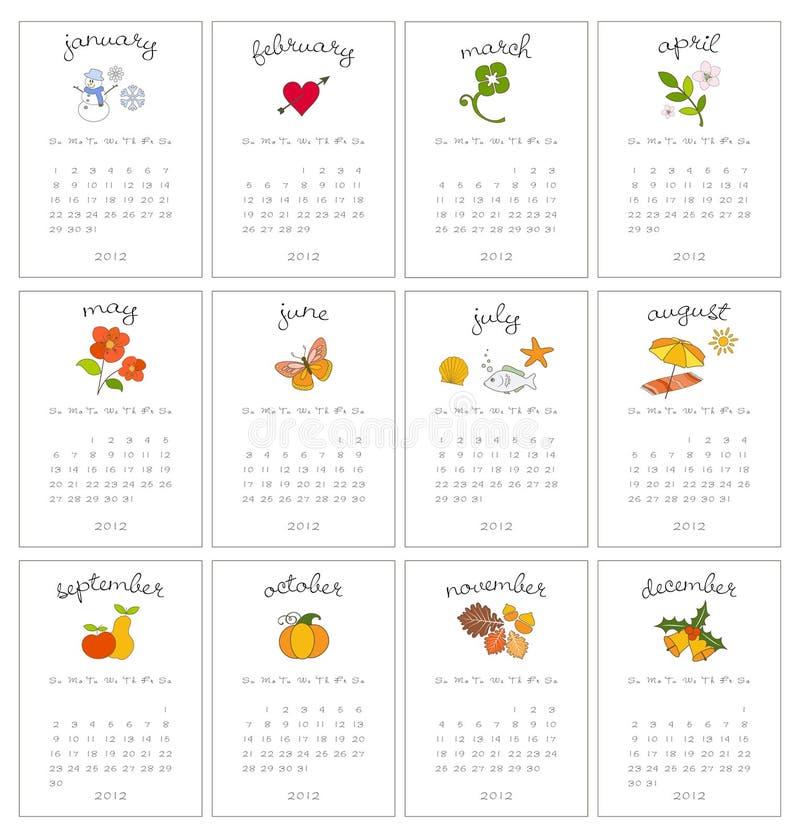 Calendari mensili decorativi illustrazione di stock