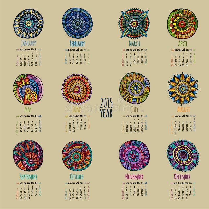 Calendario étnico 2015 años ilustración del vector