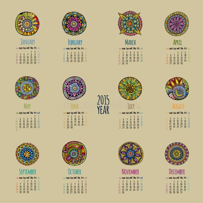 Calendario étnico 2015 años stock de ilustración