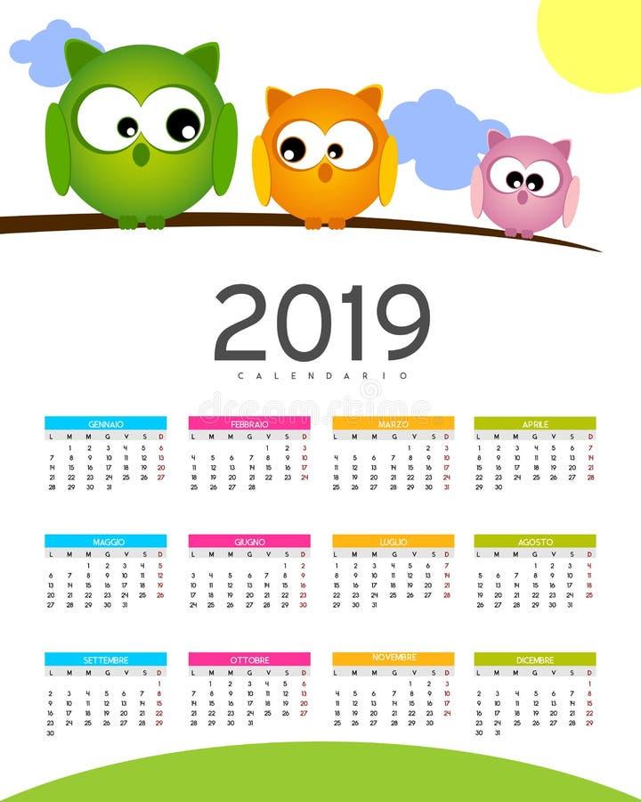 Calendario - 2019 stock de ilustración