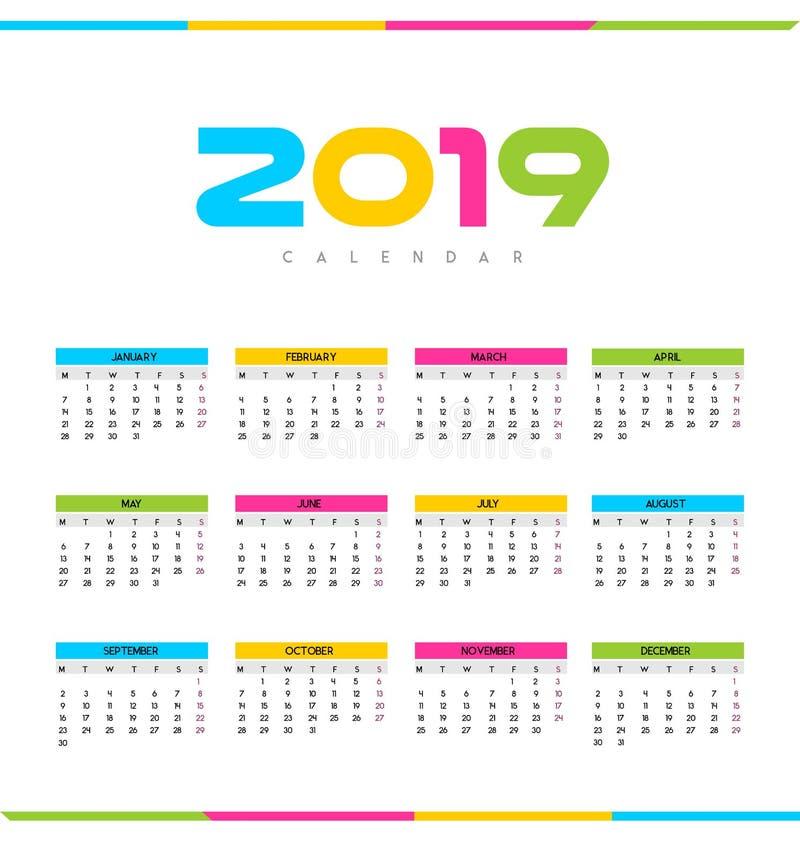 Calendario - 2019 ilustración del vector
