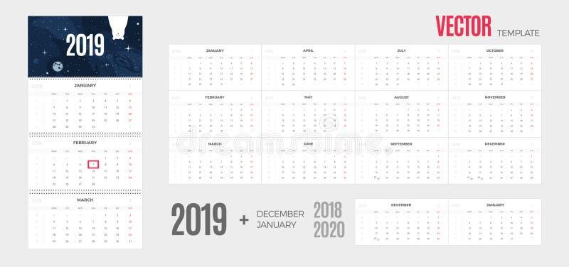 calendario 2019  illustrazione vettoriale