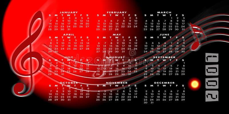 Calendario 2007 en un fondo de la música stock de ilustración