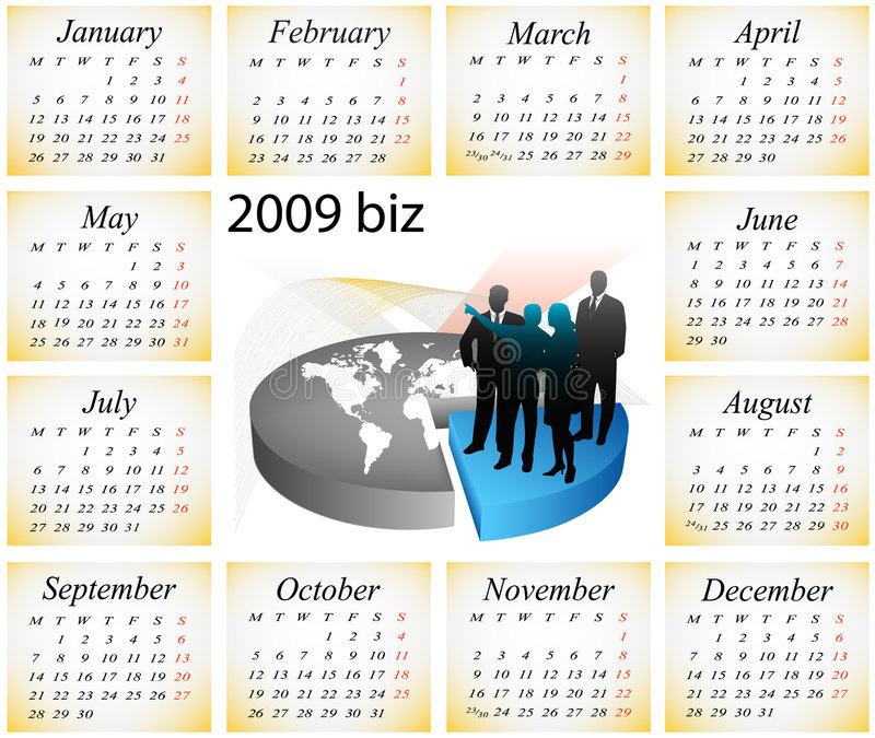 Download Calendario 2009 illustrazione vettoriale. Illustrazione di mercato - 7311051