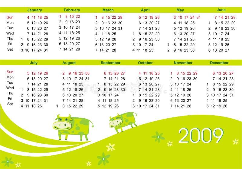 Download Calendario 2009 Con La Vaca Ilustración del Vector - Ilustración de almanac, feliz: 7279360