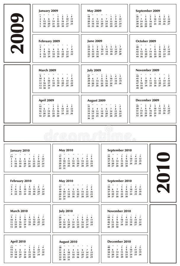 Calendario 2009 y 2010 stock de ilustración