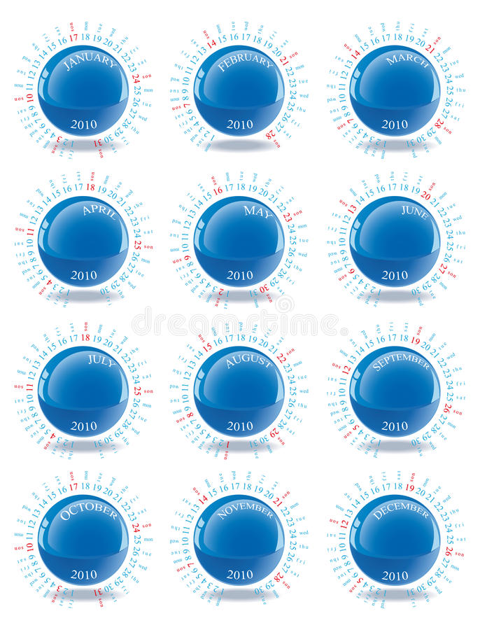 Calendario 2010 royalty illustrazione gratis