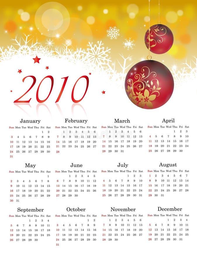 Calendario 2010 illustrazione di stock
