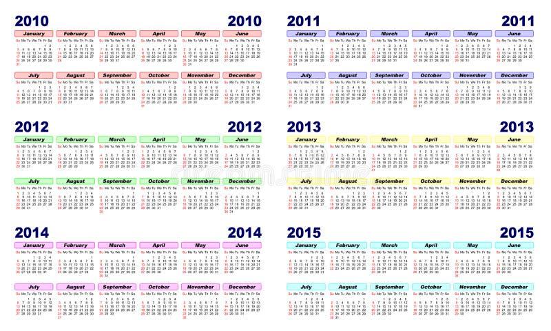 Calendario 2010-2015 stock de ilustración
