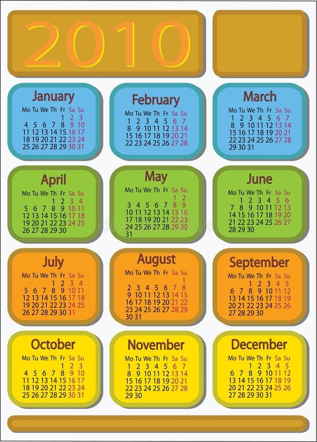 Calendario 2010 fotografia stock