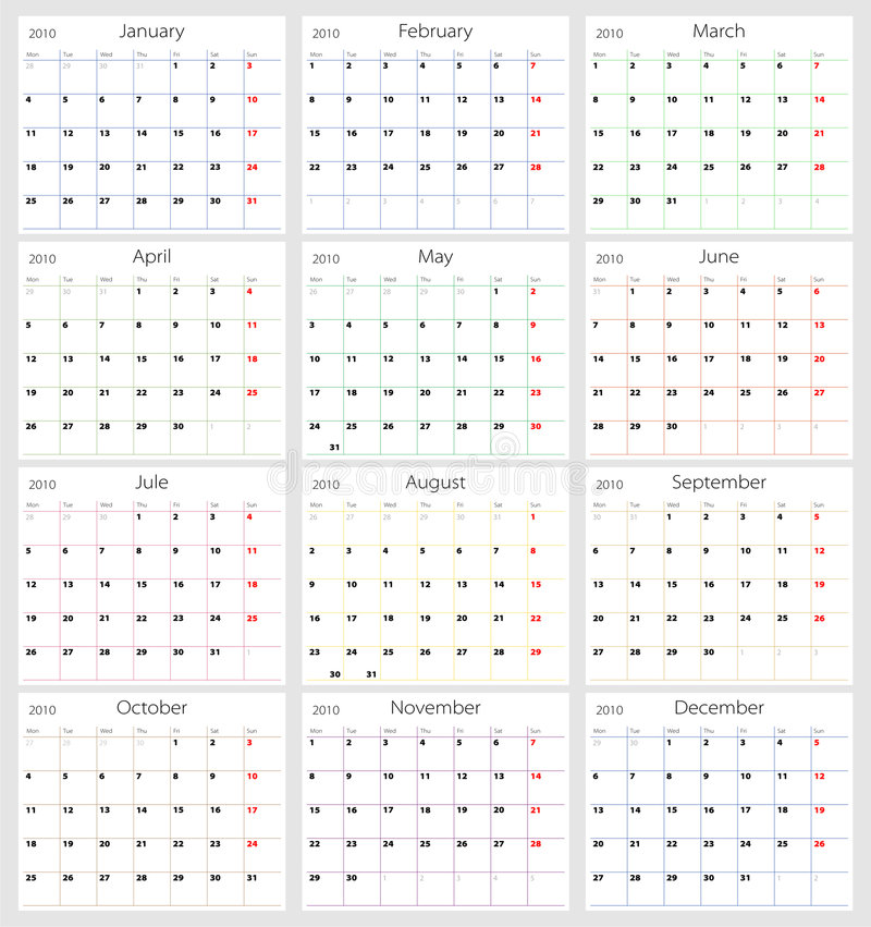 Calendario 2010 di vettore fotografia stock
