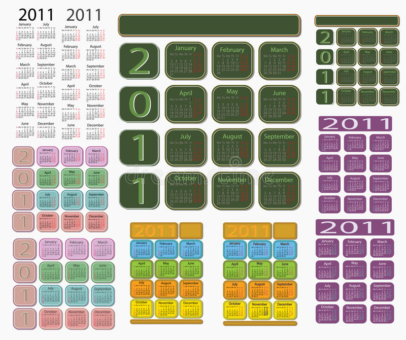 Calendario 2011 immagine stock libera da diritti
