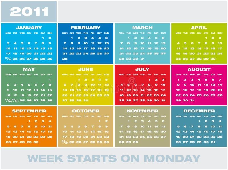 Calendario 2011 del vector ilustración del vector