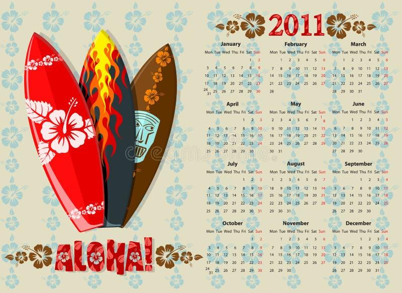 Calendario 2011 del vector Aloha con las tarjetas de resaca ilustración del vector