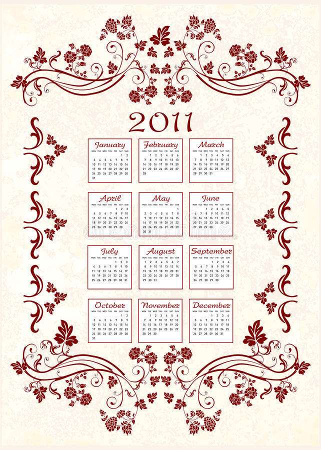 Calendario 2011 dell'annata illustrazione di stock