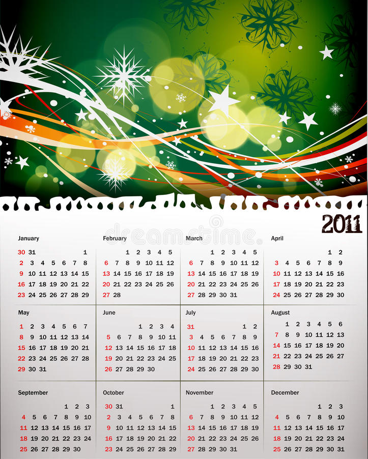 calendario 2011 per natale royalty illustrazione gratis
