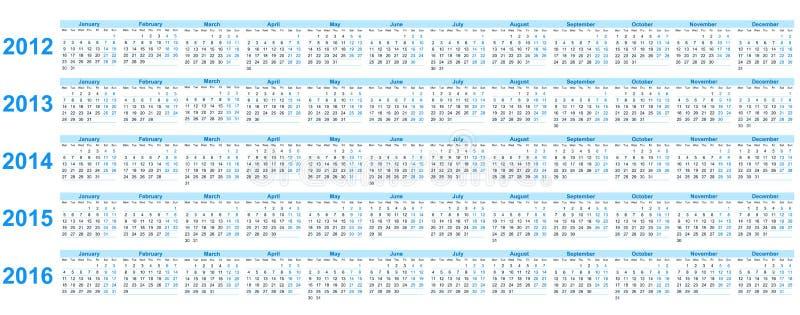Calendario 2012 -2016 libre illustration