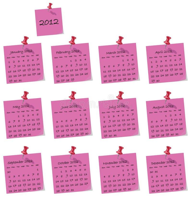 calendario 2012 ilustración del vector