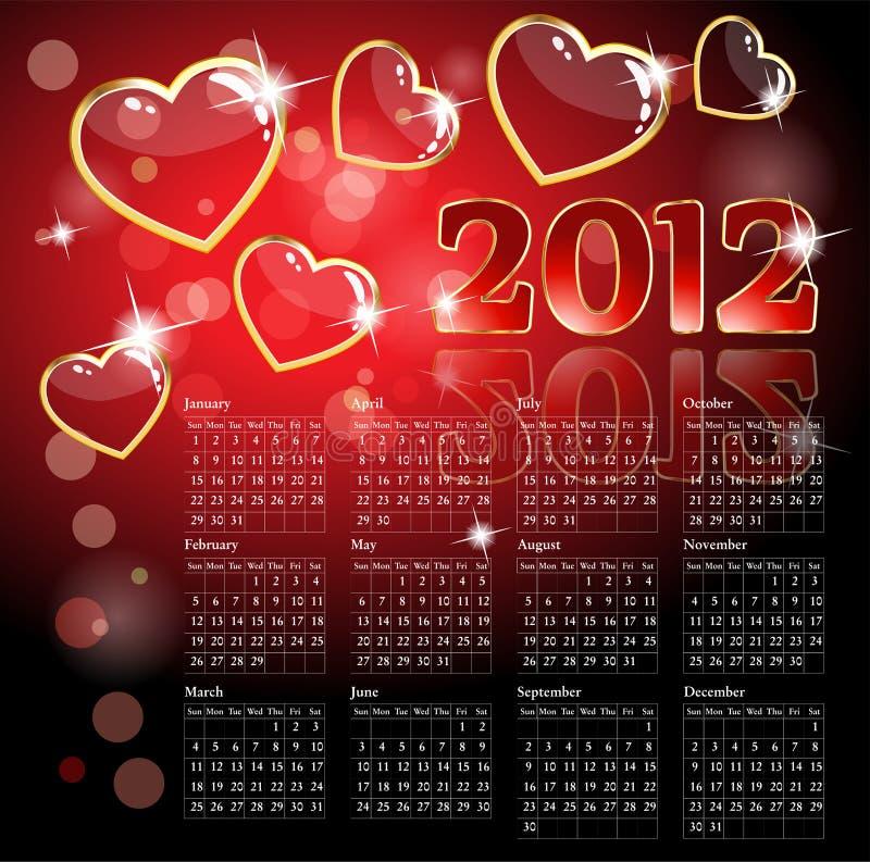 calendario 2012 con i cuori illustrazione vettoriale