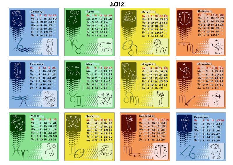 Calendario Zodiaco.Calendario 2012 Con I Segni Dello Zodiaco Illustrazione