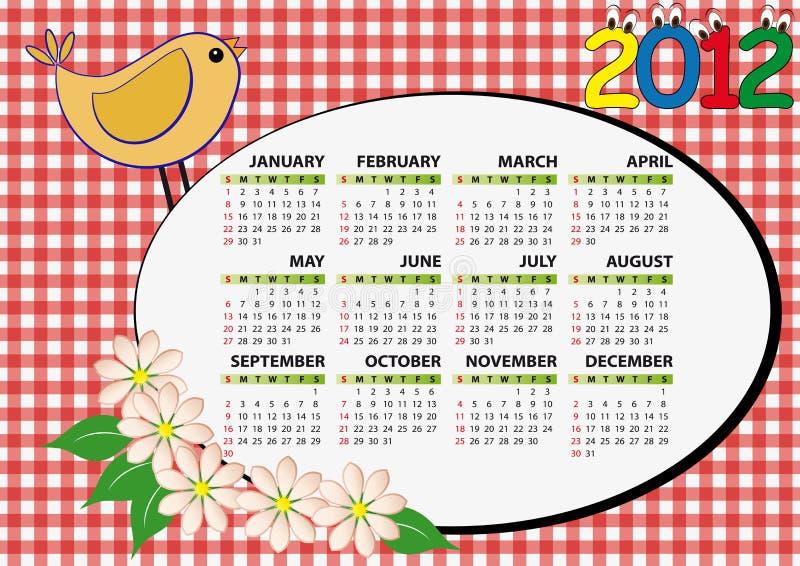 calendario 2012 dell'uccello illustrazione vettoriale