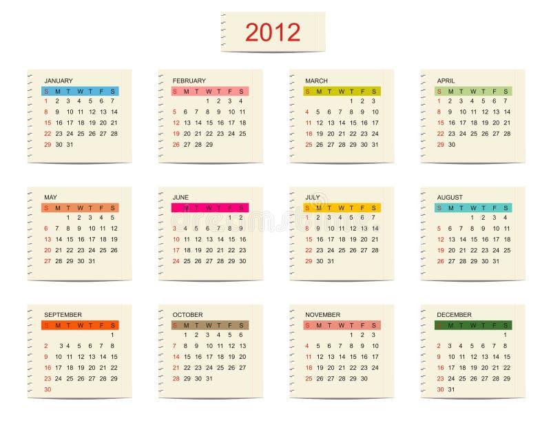 Calendario 2012 di vettore per il vostro disegno illustrazione di stock