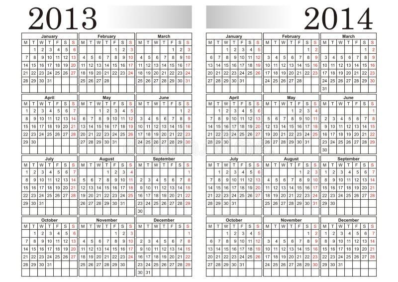CALENDARIO 2013-2014 stock de ilustración