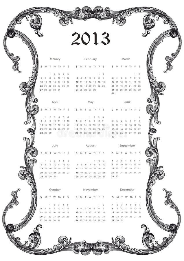 Calendario 2013 ilustración del vector