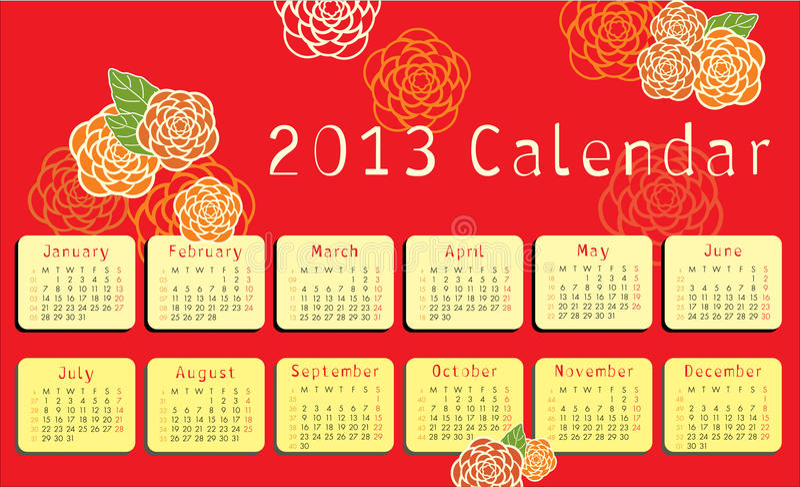 calendario 2013 con los ornamentos florales libre illustration
