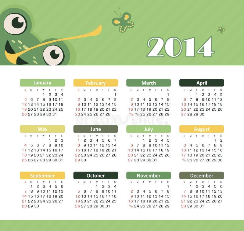 Calendario 2014 royalty illustrazione gratis